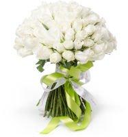 """Букет из 101 белой розы """"Подвенечное платье"""""""