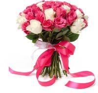 """Букет из 51 розовой и белой розы """"Ангелина"""""""