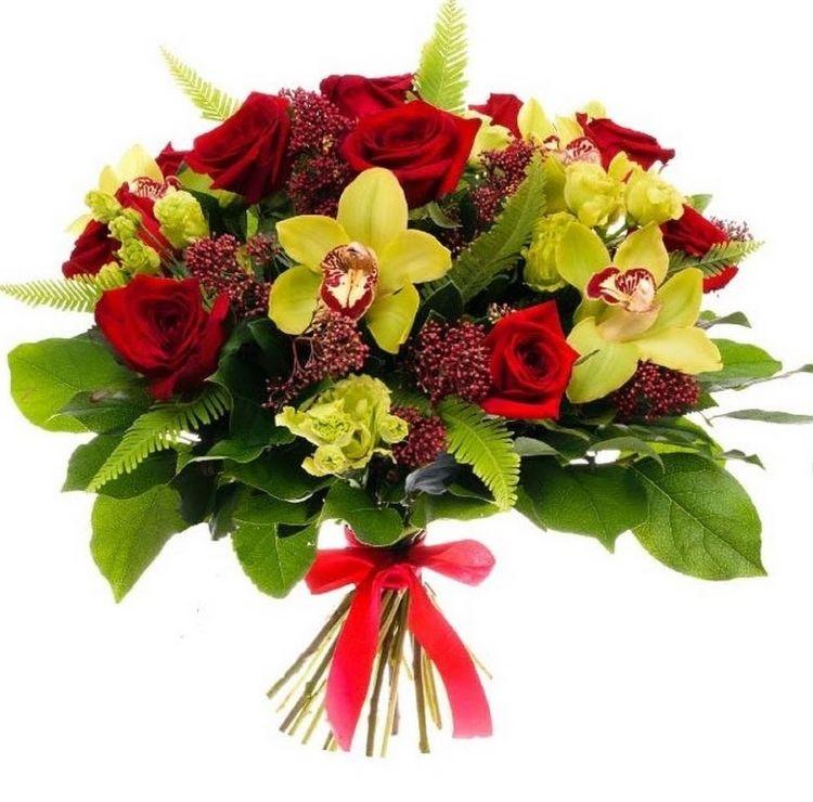 Доставку цветов, букет из красных роз и желтой орхидеи